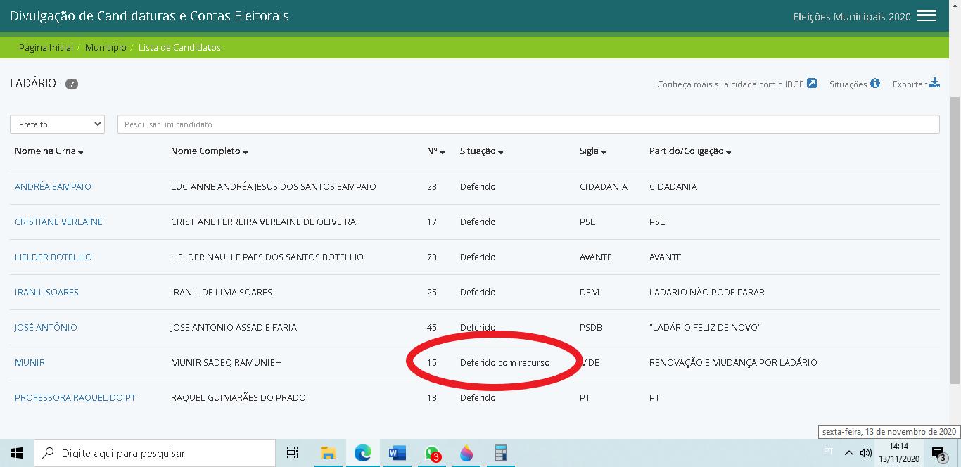 Situação do candidato no site de informações das candidaturas.