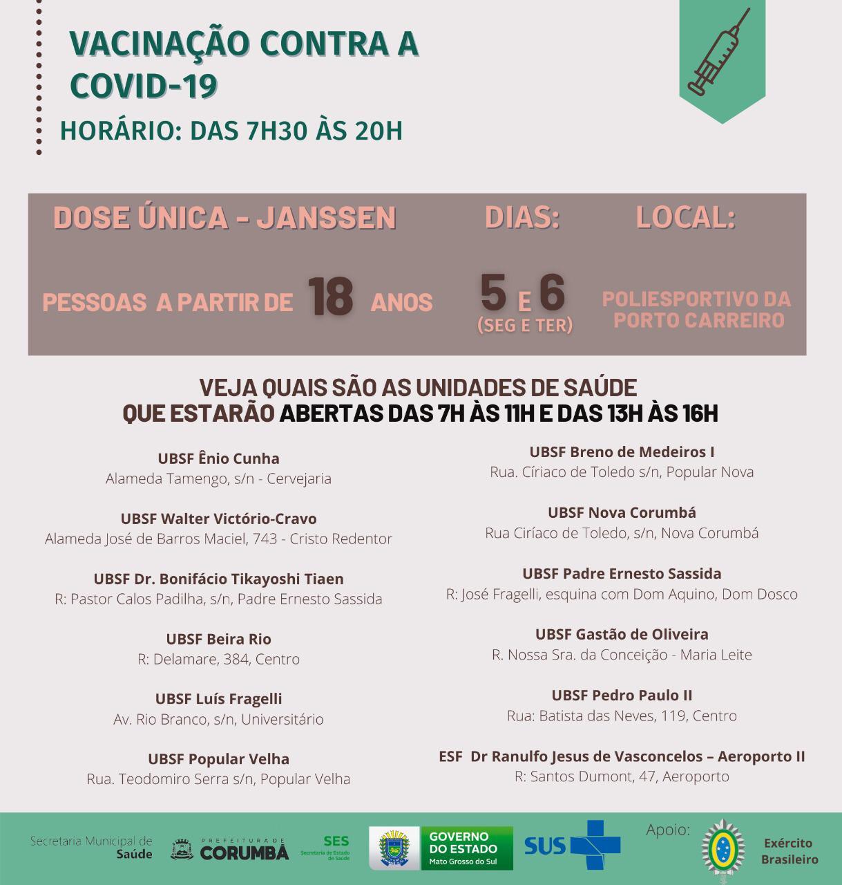Imagem de divulgação da Secretaria de Saúde de Corumbá