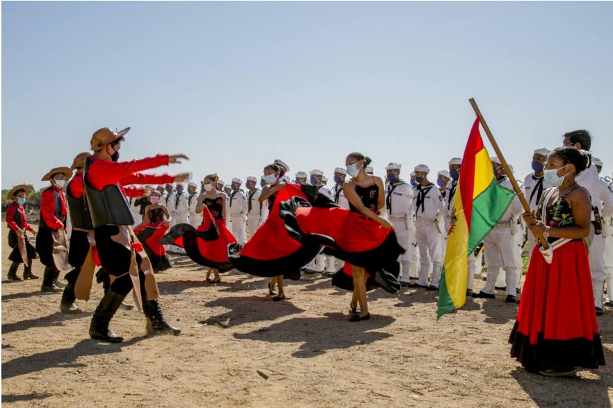 Apresentação típicacultural celebrou os 196 anos da independência da Bolívia.
