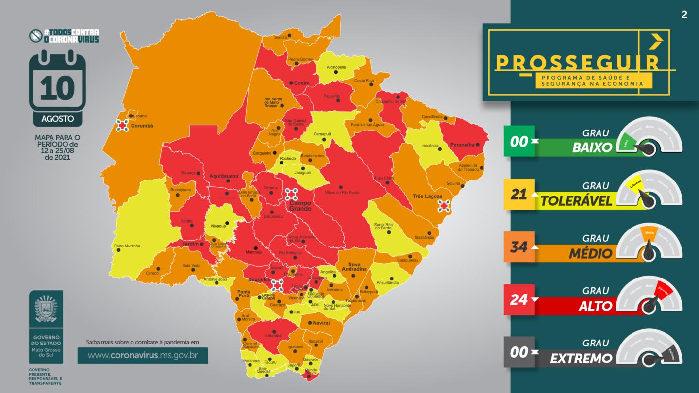 Corumbá se mantém na categoria laranja do mapa situacional.