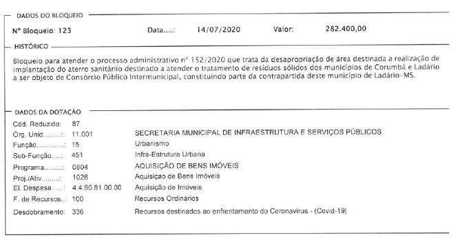 Ato está disponível para consulta no site da prefeitura de Ladário.