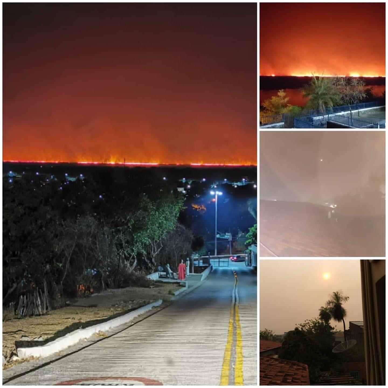 Do alto do morro do Cristo foi possível ver horizonte do Pantanal em chamas.